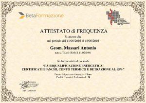 Attestato geometra Antonio Massari detrazioni 50 ristrutturazioni e detrazione 65 riqualificazione energetica