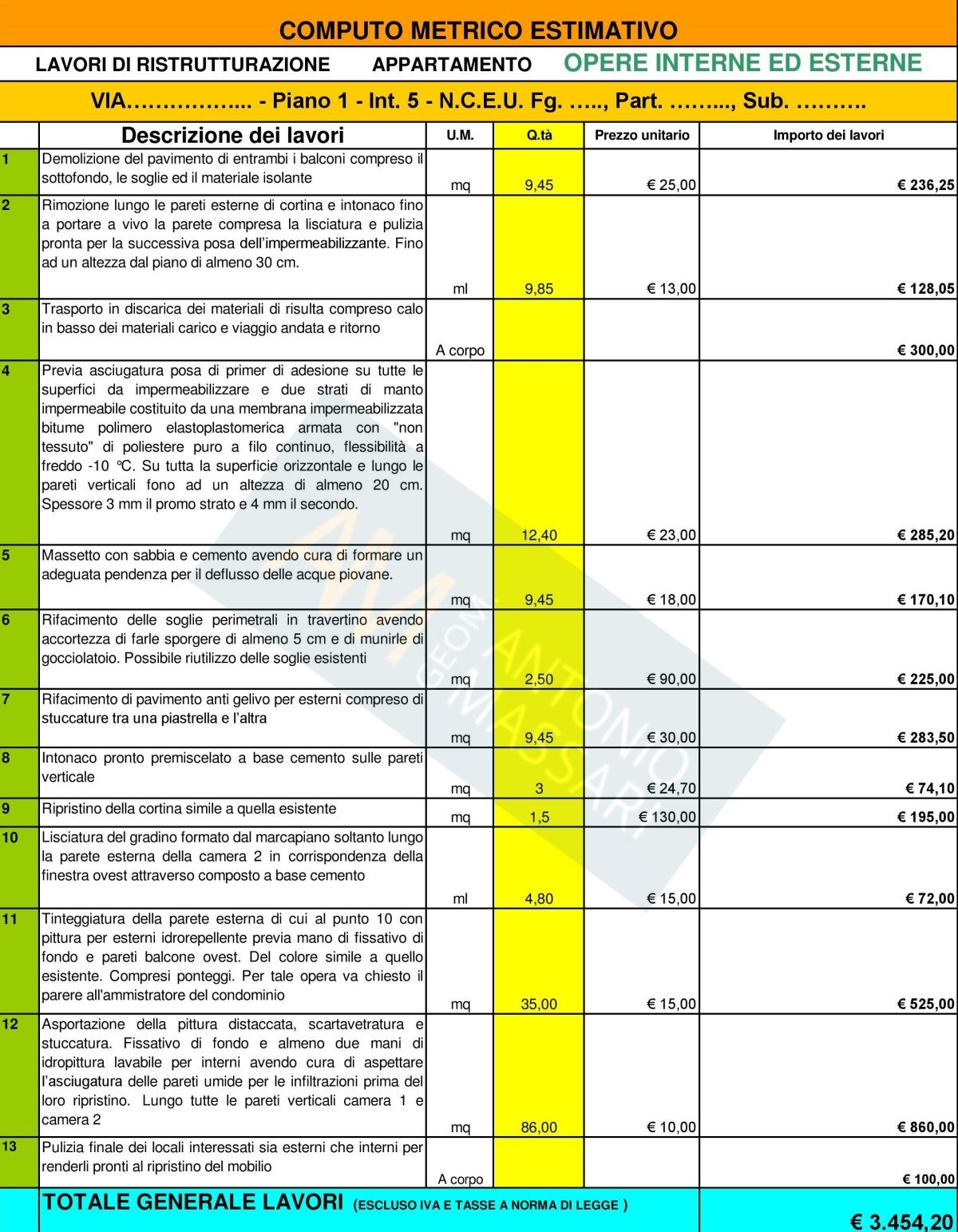 Computo metrico ristrutturazione appartamento e capitolato for Esempi di ristrutturazione appartamento
