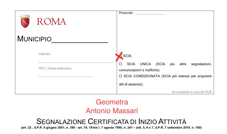 Prima Pagina del Modulo SCIA Roma