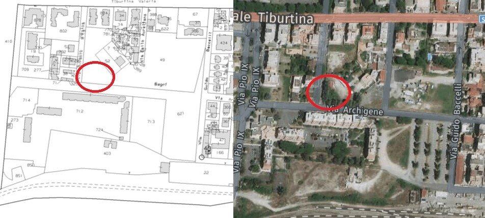Immagine satellitare sovrapposta con mappa catastale terreni per individuare immobili fantasma